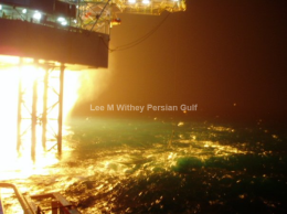 Rig flaring, pumping operations. Persian Gulf