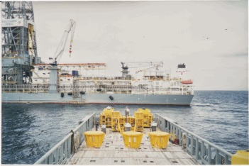 Offload Cameron equipment at Transocean drillship to be lowered to the ocean floor. Water depth 7,000 feet plus
