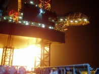Rig flaring, pumping operations Persian Gulf