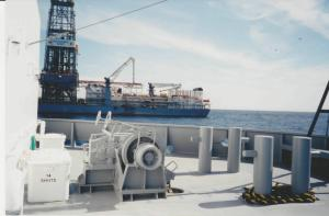 Moving to the drillship for crane operations